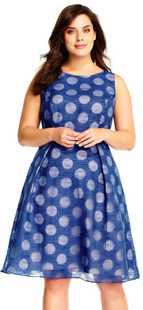 Burnout Polka Dot Fit and Flare Dress