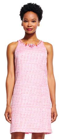 Tweed Shift Dress with Beaded Neckline