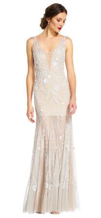 Floral Beaded Godet Dress with Sheer V-Neck and Skirt