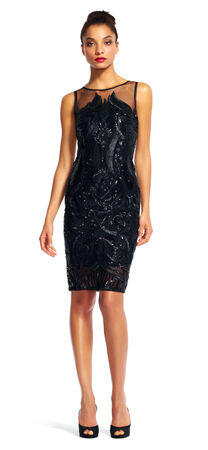 Sequin Embroidered Cocktail Dress with Illusion Neckline