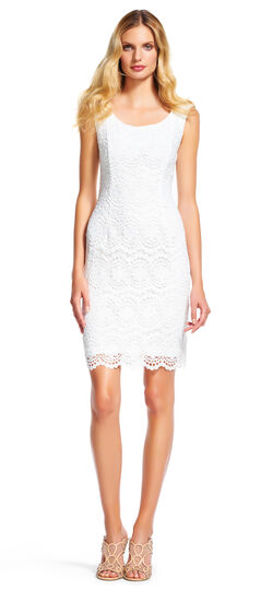 Medallion Lace Sheath Dress with Scoop Neck
