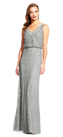 Sleeveless Raindrop Beaded Blouson Gown