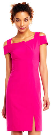 Cold Shoulder Sheath Dress with Origami Neckline