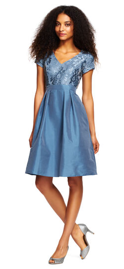 Embroidered Lace Dress with Taffeta Skirt