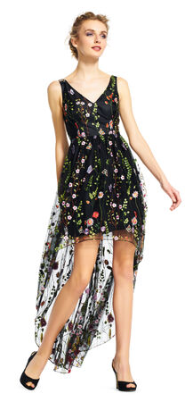 Embroidered Floral Tulle High Low Dress with V-Back