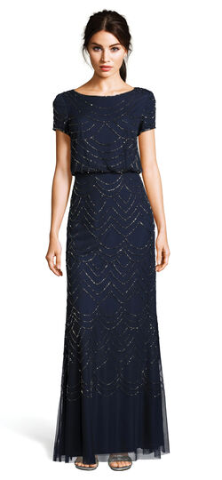 1930s Style Evening Dresses Short Sleeve Beaded Blouson Gown $209.00 AT vintagedancer.com