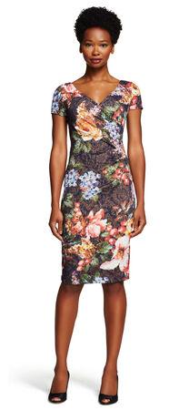 Floral Pleated Faux Wrap Sheath Dress
