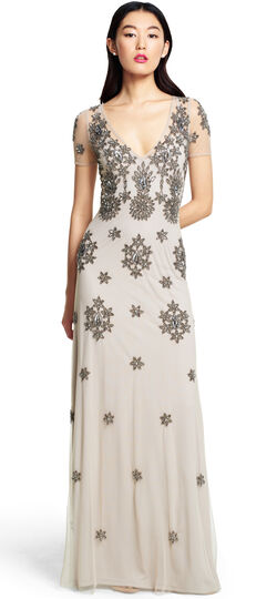 Cap Sleeve Fully Beaded Gown with V-Neckline