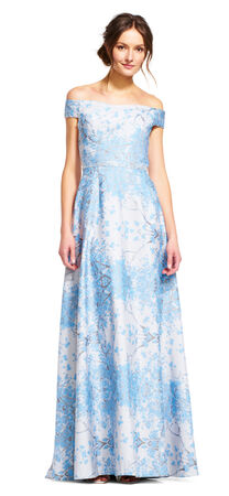 Off The Shoulder Floral Ball Gown with Jeweled Waist