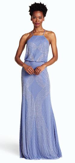 Fully Beaded Hallter Blouson Gown