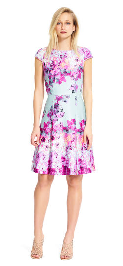Bright Floral Fit and Flare Dress
