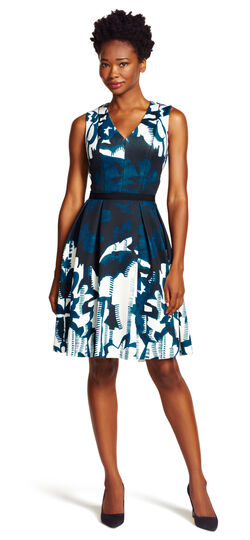 Fit and Flare Printed Scuba Dress