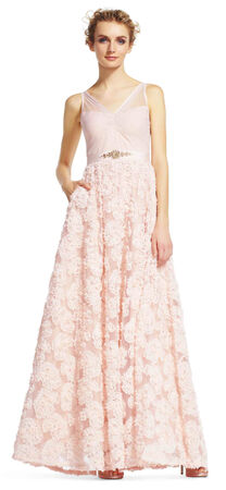 Embellished Petal Chiffon Ball Gown
