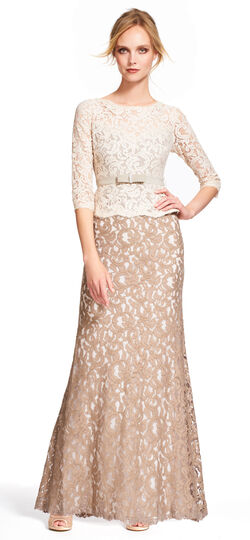 Colorblock Lace Ball Gown with Three Quarter Sleeves