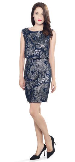 Sequin Chiffon Blouson Cocktail Dress