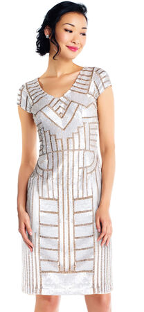 Short Beaded Geometric Patterned Dress