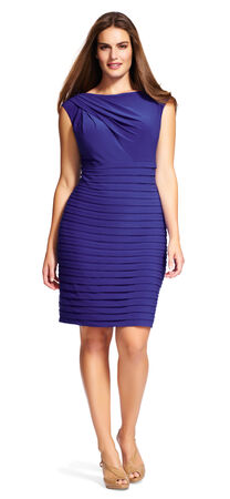 Draped Banded Sheath Dress with V-Back
