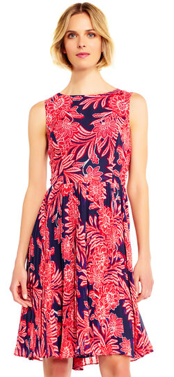 Paisley Chiffon Fit and Flare Dress with Pleated Skirt