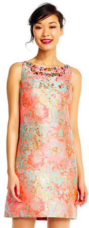 Floral Jacquard Shift Dress with Jeweled Neckline