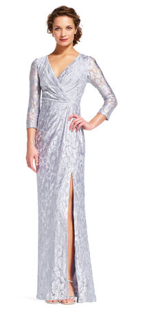 Three Quarter Sleeve Lace Gown with V-Neck