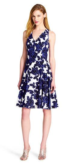 Floral Print Eyelet Fit & Flare Dress