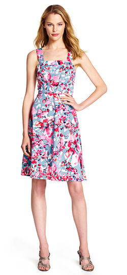 Watercolor Floral Print Fit and Flare Dress