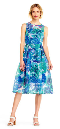 Sleeveless Ribbed Organza Floral Midi Dress