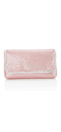 Olivia Metal Mesh Clutch with Chain Accent