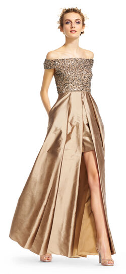 High Low Taffeta Dress With Off The Shoulder Sequin Bodice