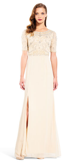 Elbow Sleeve Gown with Beaded Bodice