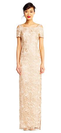 Lace Column Dress with Cold Shoulder Sleeves