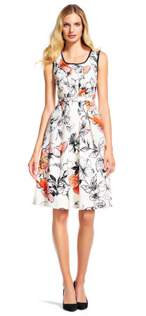 Drawn Floral Fit and Flare Dress