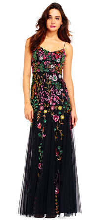 Bright Beaded Floral Blouson Godet Dress