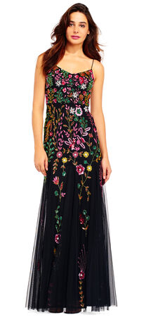 Bright Floral Beaded Godet Gown
