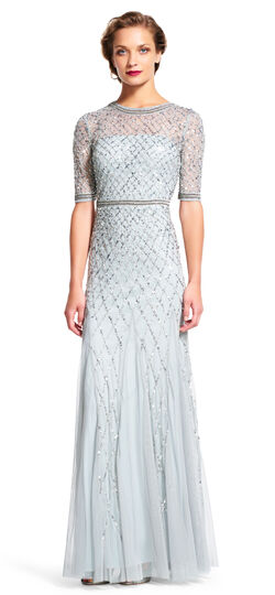 Beaded Godet Gown with Sheer Elbow Sleeves