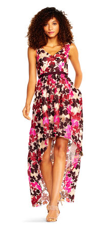 Multicolor Floral Embroidered High Low Dress with Satin Ribbon Waist