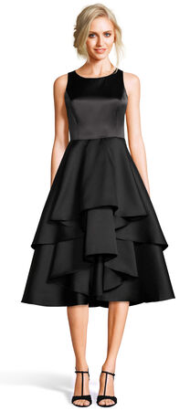Mikado Midi Dress with Asymmetrical Layered Skirt
