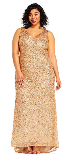 1920s Plus Size Dresses & Quality Costumes Sleeveless Sequin Beaded Gown with V-Neck and V-Back $319.00 AT vintagedancer.com