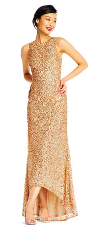 High Low Sequin Beaded Halter Gown