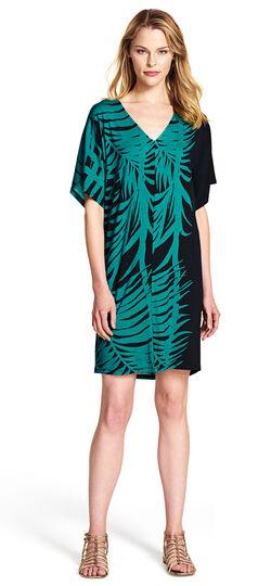 Drop Shoulder Tropical Print Dress