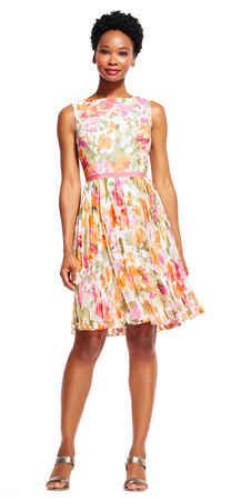 Watercolor Floral Chiffon Fit and Flare Dress