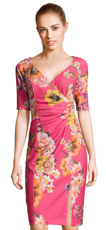 Floral Bouquet Print Draped Sheath Dress with Elbow Sleeves