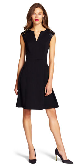 Leather Inset  Fit and Flare Dress