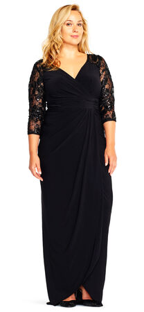 Draped Column Gown with Sequin Lace Three Quarter Sleeves