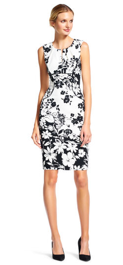 Split Neck Floral Sheath Dress with Piping