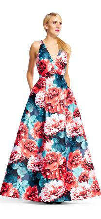 Floral Print Mikado Dress with Ball Skirt