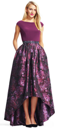Jersey Dress with High Low Floral Ball Gown Skirt