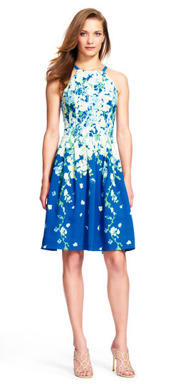 Dispersed Floral Fit and Flare Halter Dress