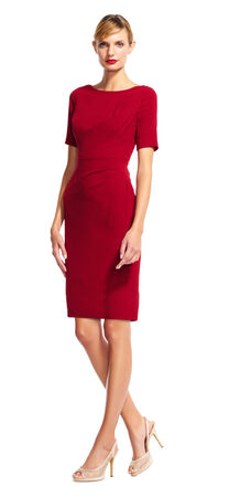 Short Sleeve Sheath Dress with Draped Details