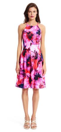 Floral Halter Scuba Dress